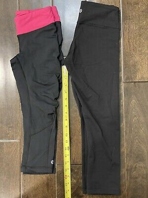 $ CDN31.72 • Buy 🍋  Lululemon Wunder Under Crop Leggings Pants Black Pink LOT Of TWO Size 2  🍋