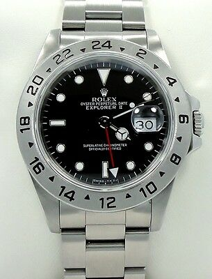 $ CDN9247.27 • Buy Rolex Explorer II 16570 GMT Stainless Steel Black Dial Watch *MINT CONDITION*