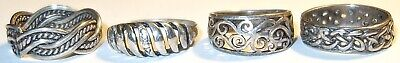 $ CDN12.56 • Buy Fantastic LOT Of FOUR (4) ASSORTED Antique/Vintage STERLING SILVER RINGS~LOT#1!