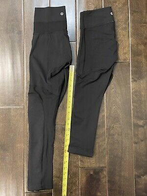$ CDN31.72 • Buy Lululemon Crop Leggings Pants High Waist Black Sheer Mesh LOT Of TWO Size 4