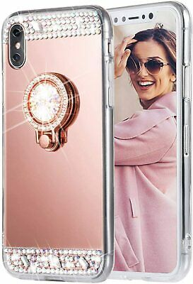 AU10.68 • Buy Glitter Phone Case For IPhone 12 Bling Shiny Makeup Mirror With Ring Kickstand