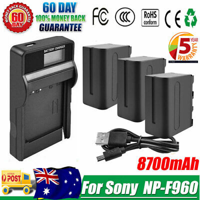 AU41.99 • Buy 8700mAh NP-F960 Battery /Charger For Sony NP-F970 NP-F950 NP-F930 VSN013C Camera