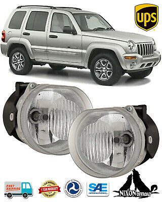 $48.79 • Buy Clear Lens Driving Fog Lights Front Bumper Lamps Pair For 2002-2004 Jeep Liberty