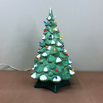 "$ CDN157.76 • Buy Vintage Large 19"" Holland Mold Lighted Ceramic Christmas Tree With Base"