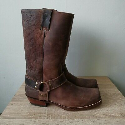 Sancho Buffalo Mens Biker Leather Brown Boots Hand Made Size 45/10 • 57.89£