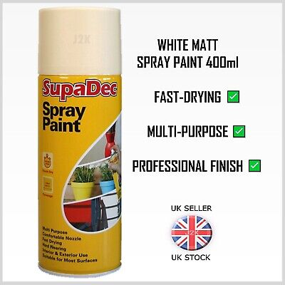 WHITE MATT Spray Paint Aerosol Can Fast Drying Wood Metal Walls Ceilings 400ml • 7.89£