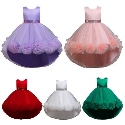Kids Princess Pageant Tulle Long Dress Prom Gown High Low Bridesmaid Ball Dress • 19.85£
