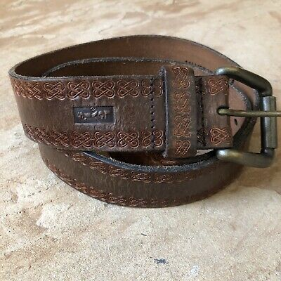 £17.72 • Buy Levis Leather Belt Brown Embossed Brass Buckle Size 34
