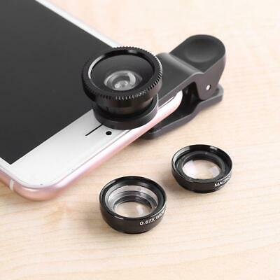£2.43 • Buy 3 In 1 Wide Angle Macro Fisheye Cell Phone Lens Kit Universal For IPhone Samsung