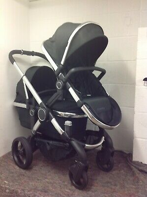 ICandy Peach Black Twill TWIN Pushchair On Chrome Chassis *NEW MODEL* • 899£