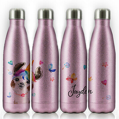 Personalised Water Bottle, Pink Glitter Stainless Steel Flask With Name, 500ml • 14.99£