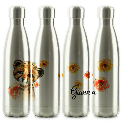 Personalised Water Bottle, Smooth Silver Stainless Steel Flask With Name, 500ml • 14.99£