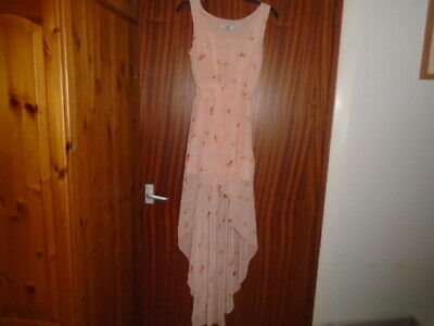 1 Stunning Peach Floaty Floral Pattern Sleeveless Hi Low Dress, ASOS, Size 8 • 10£