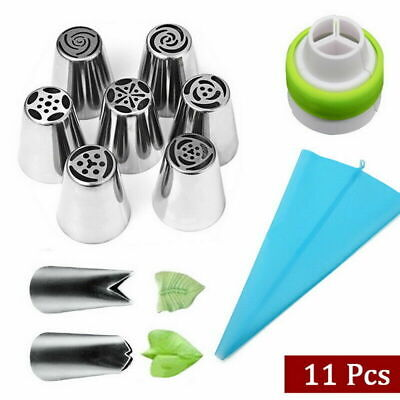 11PCs Set Icing Piping Cream Pastry Bag With Steel Nozzles Cake Decorating Kit • 6.35£
