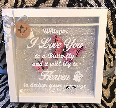 WHITE FRAME  WHISPER I LOVE YOU TO A BUTTERFLY HEAVEN  PICTURE Pink Butterflies • 17£