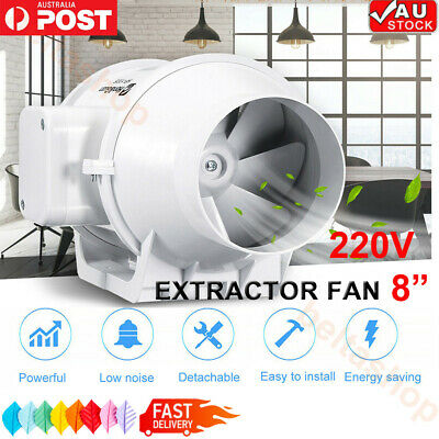 AU59.98 • Buy 8inch Silent Fan Extractor Duct Hydroponic Fan Inline Exhaust Industrial Vent AU