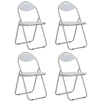 AU137.99 • Buy VidaXL 4x Folding Dining Chairs White Faux Leather Kitchen Seat Furniture