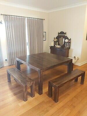 AU199 • Buy Solid Timber 8 Seater Dining Table With Bench Seats