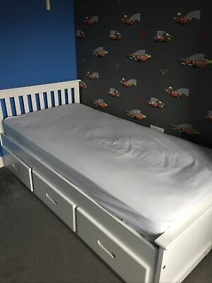 Ikea Single White Bed With Drawers • 15£