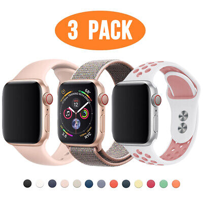 $ CDN12.07 • Buy 3 PACK Silicone Sport Band Nylon Strap For Apple Watch 6 5 4 3 IWatch SE 40/44mm