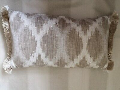 Ikat Stone And Off White Cushion With Trimming At Ends • 25£