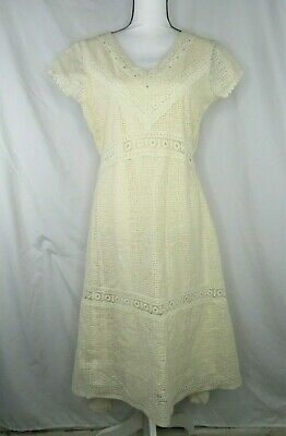 Reba Beige Dress Sz M Lined High Low Studded Eyelet Waffle Pattern Womens • 21.71£