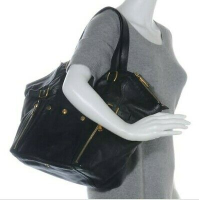 AU759 • Buy YSL Black Leather, Downtown Bag Large Tote Style, Gold Details