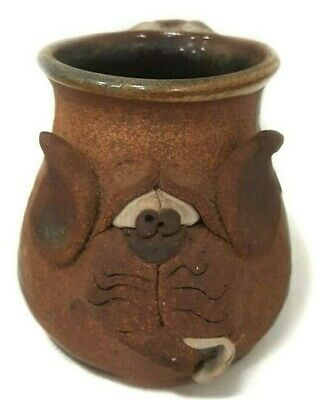 $45 • Buy DOG Mahon Made Stoneware Mug 1980 Vintage Signed Cat Cup Hand Crafted