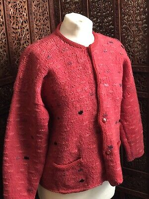 Amano Handknitted Chunky Handknit Wool Cardigan Jacket Pachamama Red Coral • 40£