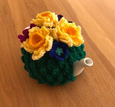 £18 • Buy Hand Knitted Tea Cosy With Colourful Crocheted Flowers - Daffodils,. Ideal Gift.