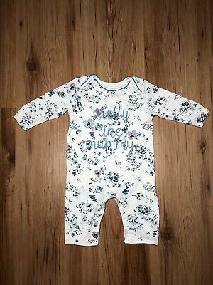 Baby Girls Floral Blue Zoo Pretty Like Mummy Sleepsuit 3-6 Months • 1.99£