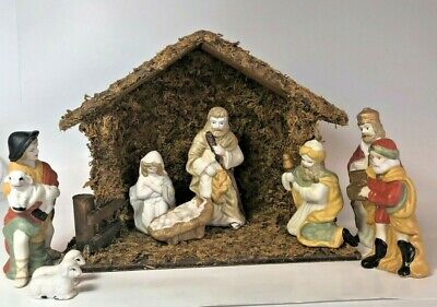 £10.62 • Buy Holiday Traditions Nativity Set Wooden Stable 9 Ceramic Figurines Christmas