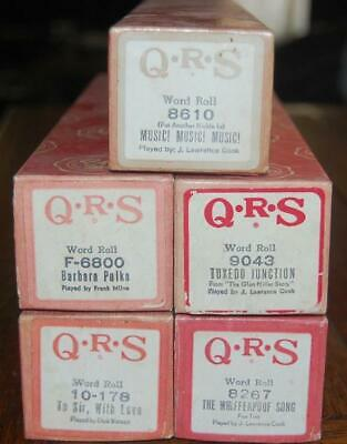 $ CDN25 • Buy Vintage Lot Of 5 Q.r.s.  Player Piano Rolls Word Roll Good Condition