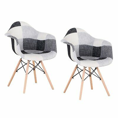 £89 • Buy 2PCS Chairs Patchwork Fabric Lounge Armchair Padded Wooden Legs Dining Room Grey