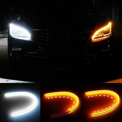 $12.99 • Buy 2 X 60CM DRL LED Light Amber Sequential Flexible Turn Signal Strip For Headlight