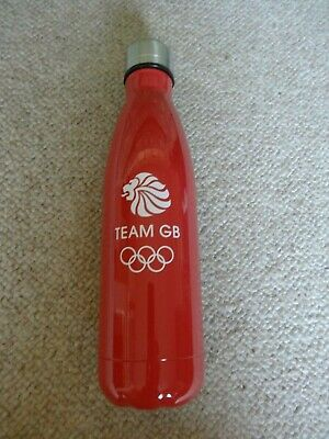 Official Team GB Red Steel Thermal Water Bottle - Lion Mascot Olympic Rings Logo • 11.99£