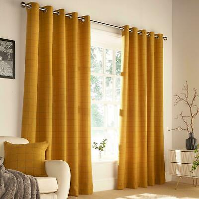 Riva Paoletti Ellis Heritage Ochre, Mustard Large Check Ring Top Curtains 66x54 • 50£