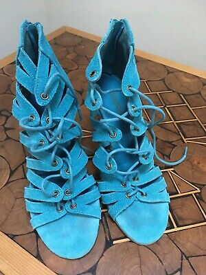 Ladies Gladiator Style Sandals High Heel Real Suede Size 3 • 1.30£