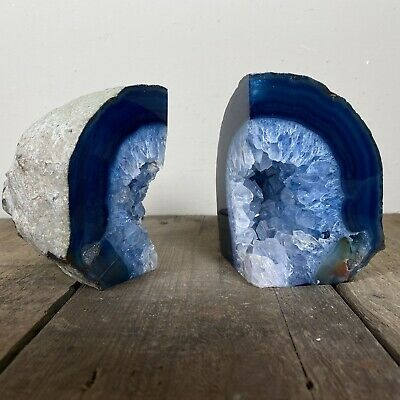 Large Blue Quartz Crystal Bookends Geode Clear Stone Rock Fossil Cut Polished  • 64.99£