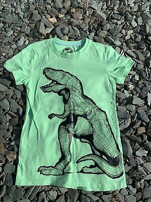 Bluezoo Dinosaur T-Shirt 9-10yrs - Green T-Rex Dino Pattern Debenhams • 1.99£