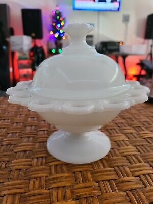 $20 • Buy Anchor Hocking Milk Glass Candy Dish Compote Scalloped Edge With Lid