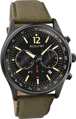 Accurist Men's Quartz Watch With Black Dial Chronograph Display And Olive Green • 64.17£