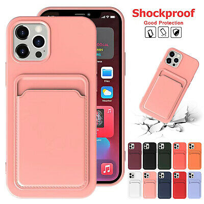 AU9.99 • Buy Liquid Silicone Case For IPhone 12 Pro Max 11 XS XR 8 7 Card Holder Wallet Cover