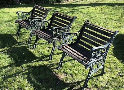 Set Of 3 Wrought/Cast Iron Single Seat Benches. Beautiful Old Iron. • 800£