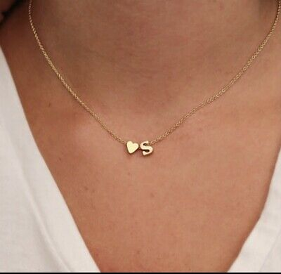 £4.99 • Buy SUMENG Fashion Tiny Heart Dainty Initial Necklace Gold Silver Color Letter Name