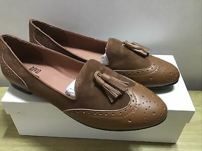 £19.99 • Buy Riva Classic Brown Leather Flat Slip On Shoes Size UK 6 EU 39 Boxed