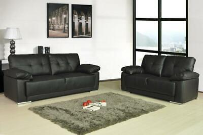 Modern Leather Sofas 3 Piece Suite 3+2+1 Black Brown Cream Living Room • 299.99£