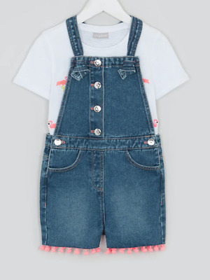 £8.95 • Buy NEW Girls Ex Matalan Pompom Denim Dungarees Platsuit Shorts Age 4 To 13 Years