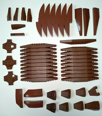 Lego Lot Of Brown Curved Slopes And Wedges 41766, 30382 +more • 10£