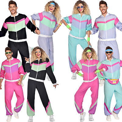 £19.25 • Buy Adults Jogging Shell Suit Fancy Dress Runner Costume 80s Mens Ladies Tracksuit